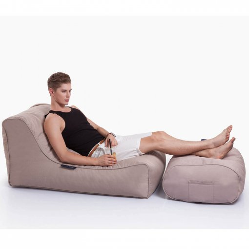sandstorm ottoman bean bag with model
