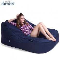 two seater dark blue deluxe bean bag