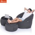 sunbrella black rock wing ottoman bean bag with matching butterfly sofa & versa table 1