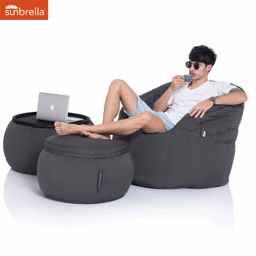sunbrella black rock wing ottoman bean bag with matching butterfly sofa & versa table 2
