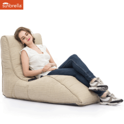 sunbrella mudhoney dune avatar bean bag with model 1