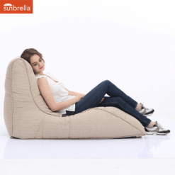 sunbrella mudhoney dune avatar bean bag with model 2