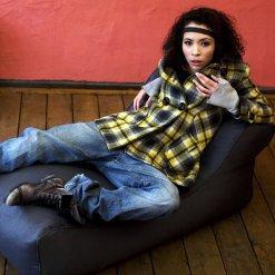 supernova studio lounger bean bag with model