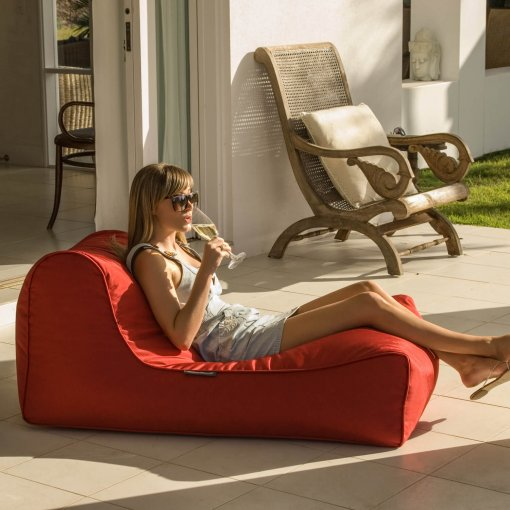toro red studio lounger bean bag with model