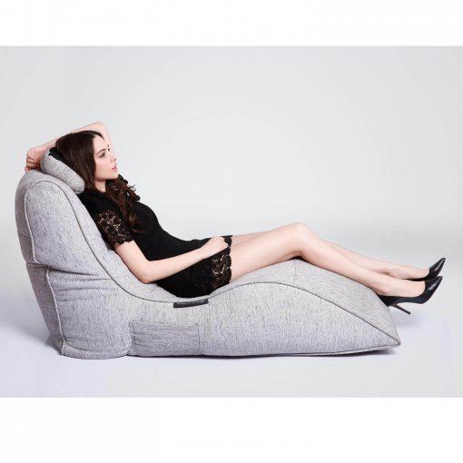 tundra spring avatar lounger bean bag side view with model