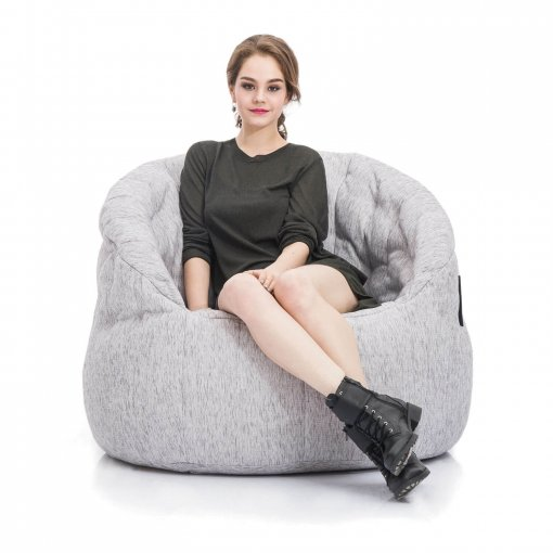 tundra spring butterfly sofa bean bag with model on front view