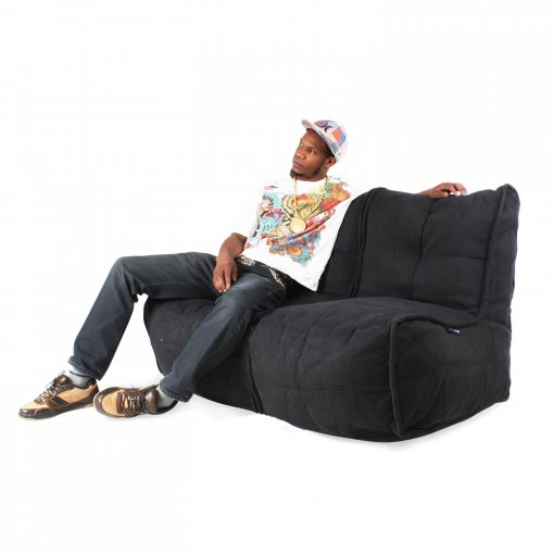 Twin couch bean bag sofa in black sapphire with model
