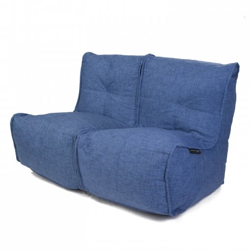 Twin couch bean bag sofa in blue jazz fabric