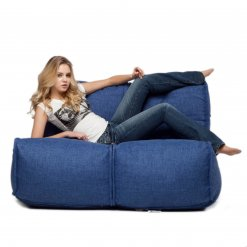 Twin couch bean bag sofa in blue jazz fabric with model