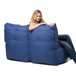 Twin couch bean bag sofa in blue jazz fabric rear angle view