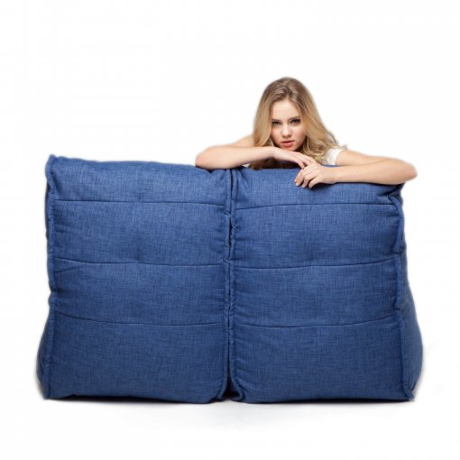 Twin couch bean bag sofa in blue jazz fabric rear view