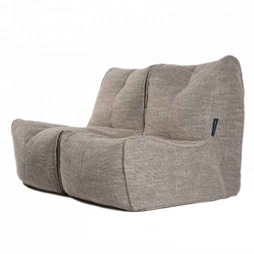 Twin couch bean bag sofa in ecoweave 3/4 view