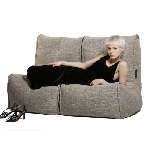 Twin couch bean bag sofa in ecoweave with model