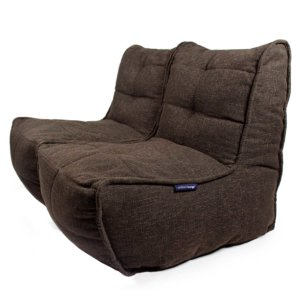 Twin couch bean bag sofa in hot chocolate