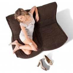 Twin couch bean bag sofa in hot chocolate from above