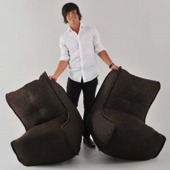 Twin couch bean bag sofa in hot chocolate split in two