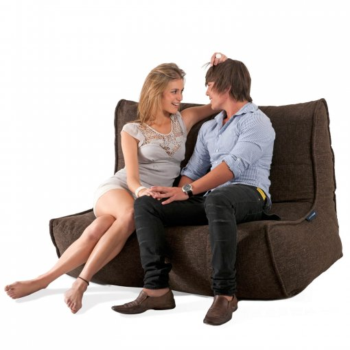 Twin couch bean bag sofa in hot chocolate with two models