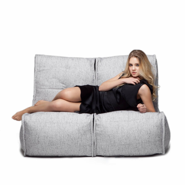 Twin couch bean bag sofa in tundra spring fabric front view