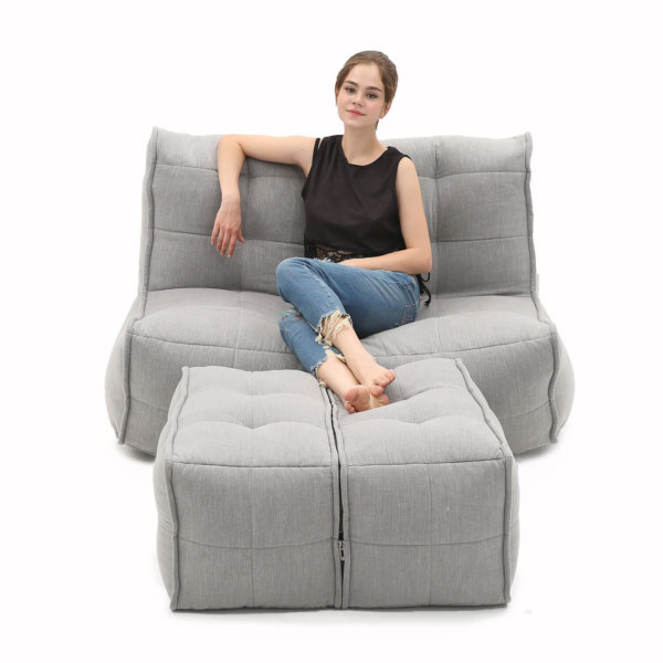 Twin couch designer bean bag sofa in Keystone Grey front view