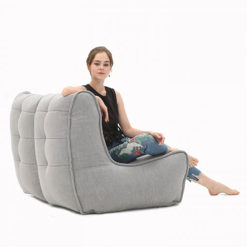 Twin couch designer bean bag sofa in Keystone Grey 3/4 back view
