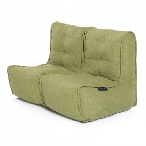 Twin couch bean bag sofa in citrus lime fabric 3/4 view