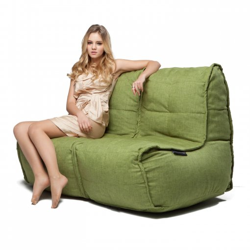 Twin couch bean bag sofa in citrus lime fabric with model
