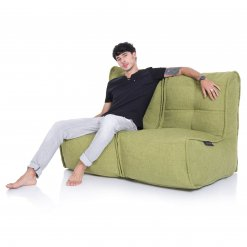 Twin couch bean bag sofa in citrus lime fabric with model 2