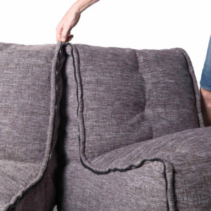 Twin couch in luscious grey fabric zipping together