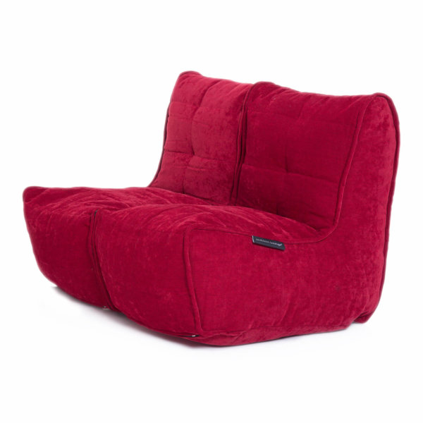 Twin couch bean bag sofa in wildberry red fabric
