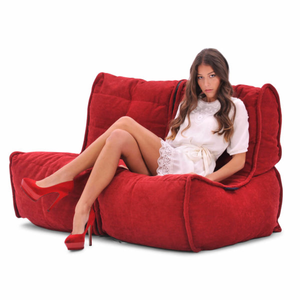 Twin couch bean bag sofa in wildberry red fabric with model