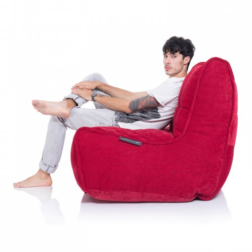 Twin couch bean bag sofa in wildberry red fabric side view