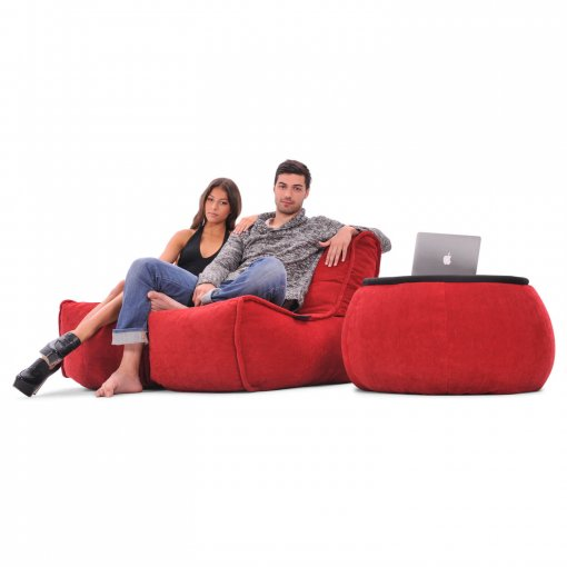Twin couch bean bag sofa in wildberry red fabric with versa table