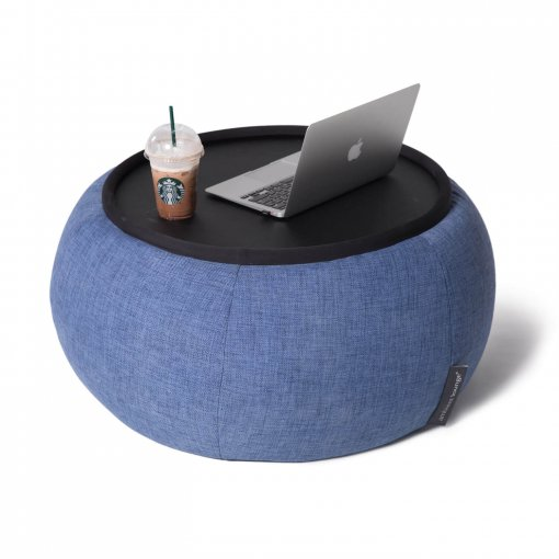 Versa table in blue jazz fabric with laptop 2