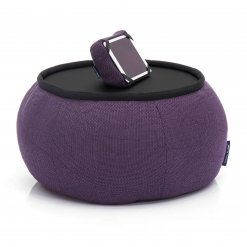 Versa table in Aubergine Dream fabric with tech pillow