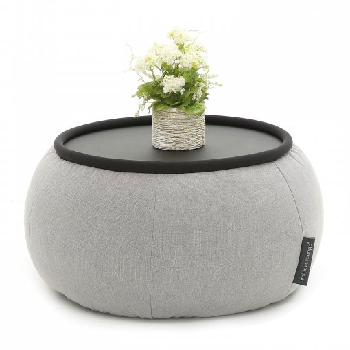 Versa table in Keystone Grey fabric with pot plant