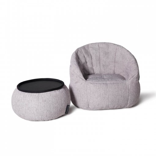 Versa table designer bean bag table in tundra spring fabric with butterfly sofa