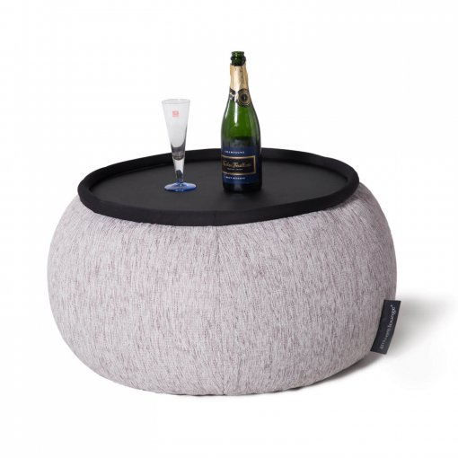 Versa table designer bean bag table in tundra spring fabric with drinks on top