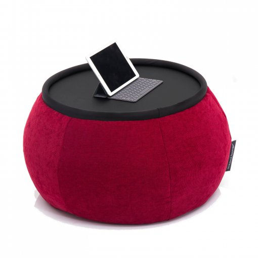 Versa bean bag table in wildberry deluxe fabric with ipad