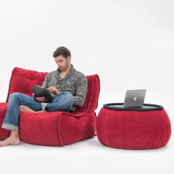 Versa bean bag table in wildberry deluxe with model