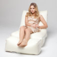 Air mesh bean bag lounger and ottoman set in white front view