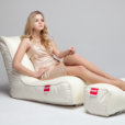 Air mesh bean bag lounger and ottoman set in white