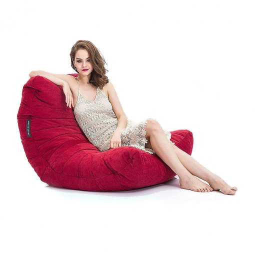 wildberry deluxe acoustic bean bag side view with model