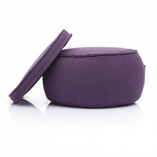 Wing Ottoman in Aubergine Dream with top removed