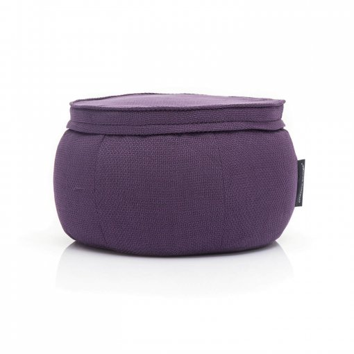 Wing Ottoman in Aubergine Dream front view
