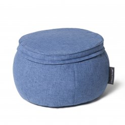 Wing ottoman in blue jazz fabric
