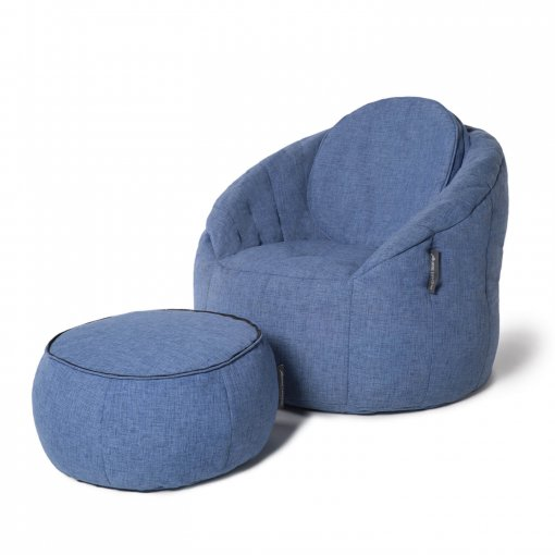 Wing ottoman in blue jazz fabric with butterfly sofa