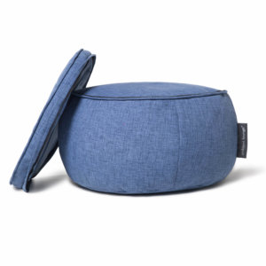 Wing ottoman in blue jazz fabric with top removed