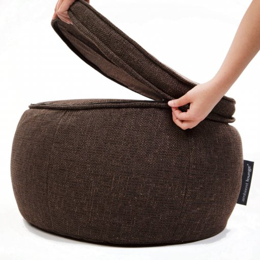 Wing ottoman in hot chocolate unzipping cushion