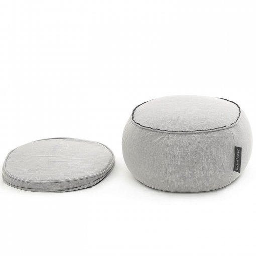 Wing ottoman bean bag in Keystone Grey with cushion aside