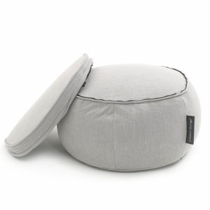 Wing ottoman bean bag in Keystone Grey with cushion unzipped